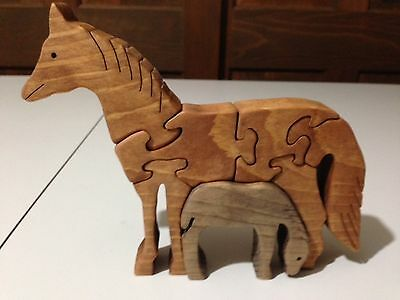 Wooden Horse - Mare & Foal - Handmade -7 Pieces - Stained