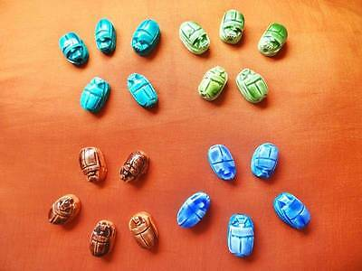 99 Handmade Egyptian Art Ceramic Stone Scarabs beads W/ Hieroglyphics Jewellery