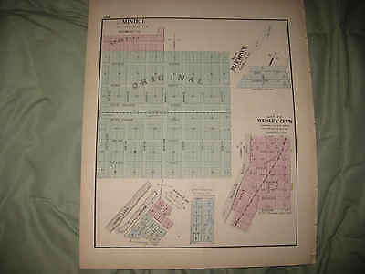 Mint Antique 1872 Minier Wesley City Bluetown Tazewell County Illinois Map Nr