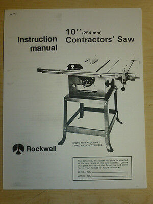 """1978 Rockwell 10"""" Contractor Table Saw Instruction Manual For Model 34-440"""