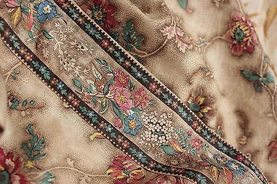 Antique bed  curtain drape 1820 French textile wood block printed BORDERED