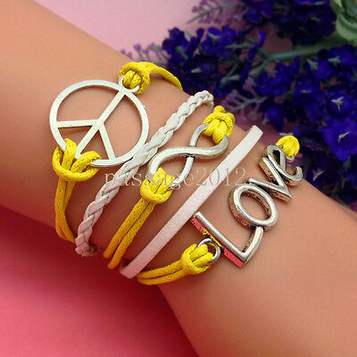 NEW DIY Infinity Love Peace Yellow Leather Cute Charm Bracelet plated Silver A95