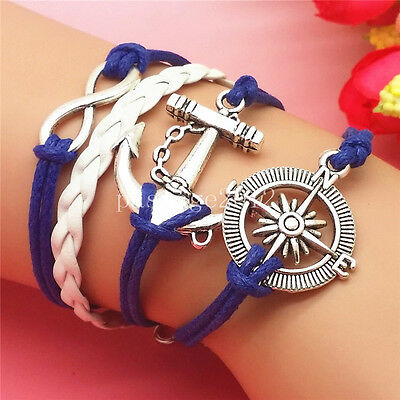 NEW fashion Infinity Rudder Anchor Leather Cute Charm Bracelet Copper A315
