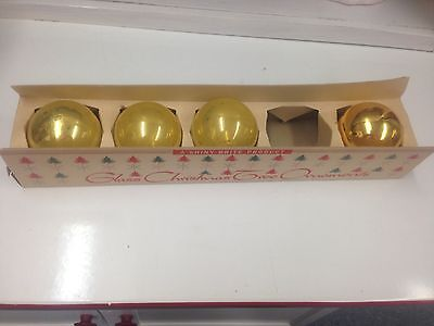 "2-1/2"" Neat Gold Vintage Shiny Brite Glass Ball Christmas Tree Ornaments w/Box 4"