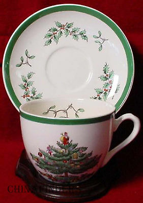 SPODE china CHRISTMAS TREE S3324 pattern contemporary CUP & SAUCER set