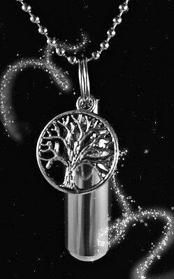 "TREE OF LIFE ANOINTING OIL Holder 24"" Ball-Chain NECKLACE w/Velvet Pouch"