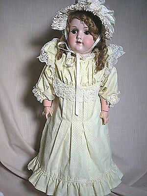 """Antique German Bisque Head Doll Marked MOA 200 Welsch Composition Body 23"""" Tall"""
