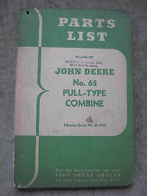 John Deere 65 Pull Type Combine Parts List ORIGINAL