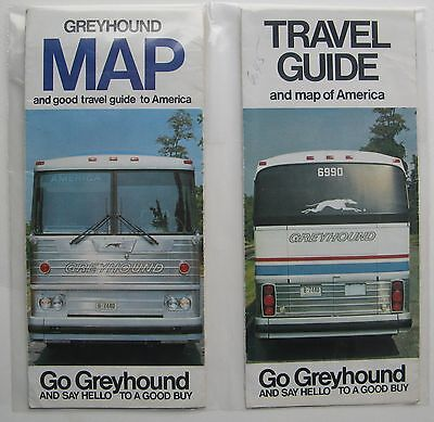 "(2) Circa 1970's Greyhound Maps and Travel Guide To America ""Go Greyhound"""