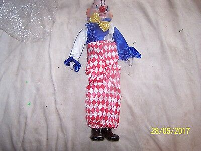 20 inch tall porcelain wind up clown fully dressed