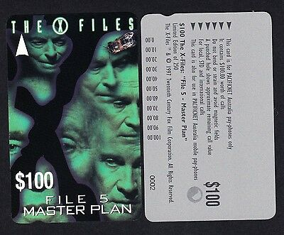 Pacificnet Australia $100 Phonecard MINT Condition Limited Edition X Files File5