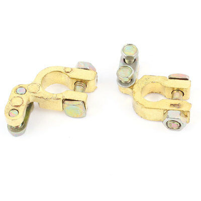 Auto Car 16mm Hole Dia Battery Terminal Clamp Clips Brass Connector 2Pcs