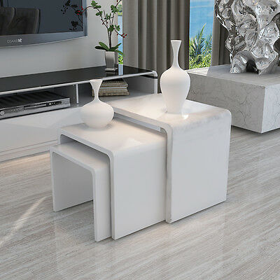 Modern Design White High Gloss Nest Of 3 Coffee Table/side Table Living Room