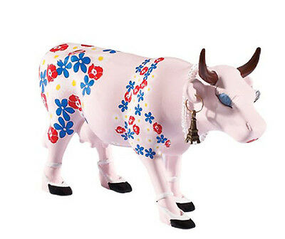 New COW PARADE Figurine BILINGUAL DIVA Statue EIFFEL TOWER Pearl Necklace FLORAL