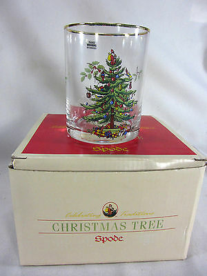NEW in BOX Set 8 Spode DOUBLE OLD FASHIONED Glasses CHRISTMAS TREE Gold Gilding