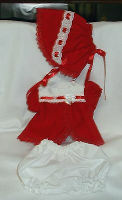 "Red and white dress set with bonnet and panties fits 11-12"" "" Tiny Tears"