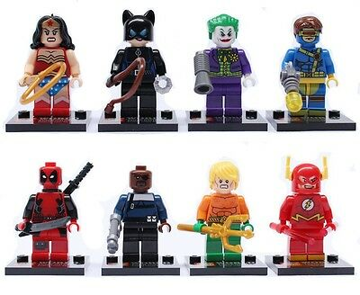 8 Sets Super Heroes Minifigures Building Toy Catwoman Joker Kids Blocks Toys #S5