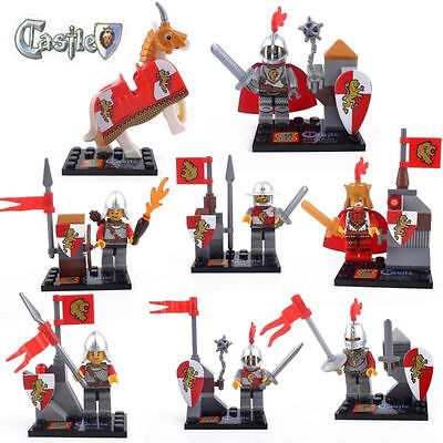 8 Sets of Minifigures Castle Knight Soldiers Mage Red Lions Legion Kids Toys #V5