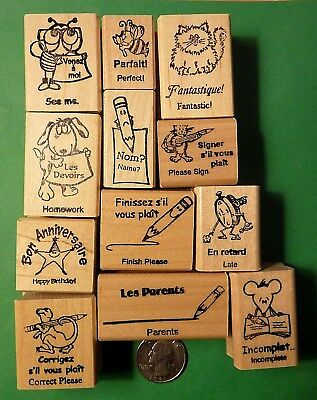 Teacher's French/English Bilingual Rubber Stamp Asst., Wood Mounted