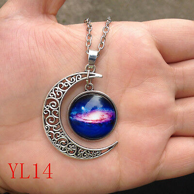 Colorful Galaxy Glass Hollow Moon Shape Pendant Silver Tone Necklace #14