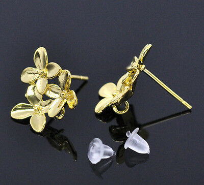 5Pairs Gold Plated Flower Earring Post W/Stopper 15x14mm