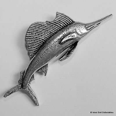 Marlin Sailfish Pewter Pin Brooch -British Hand Crafted-Swordfish Marine Angling