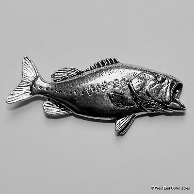 Bass Fish Pewter Pin Brooch -British Handcrafted- Sea Fishing Angling Gift