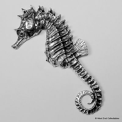 Seahorse Pewter Pin Brooch -British Hand Crafted- Sea Horse Marine Fish Aquarium