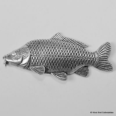 Carp Fish Pewter Pin Brooch - British Handcrafted- Common Coarse Fishing Angling