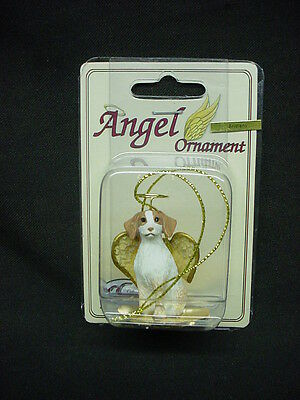 BRITTANY dog ANGEL ORNAMENT Figurine NEW Christmas BROWN WHITE Spaniel puppy