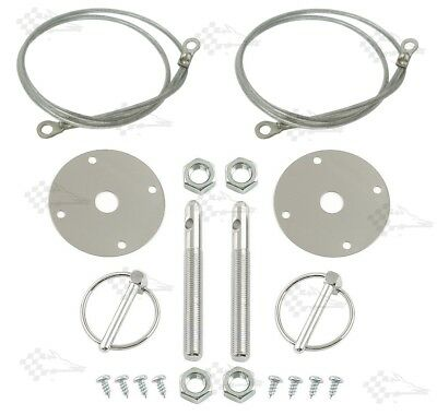 "Chrome Bonnet Pin Kit / Hood & Deck Pins With Lanyards & 3/16"" Torsion Clips"