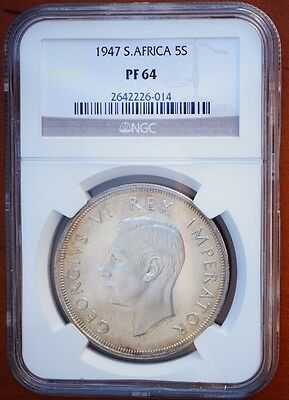 1947 South Africa 5 Shillings KM# 31 Silver Proof Crown NGC PF64 RARE