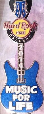 "Hard Rock Cafe ORLANDO 2014 ""MUSIC for LIFE"" Blue GUITAR PIN New in HRC Baggy!"