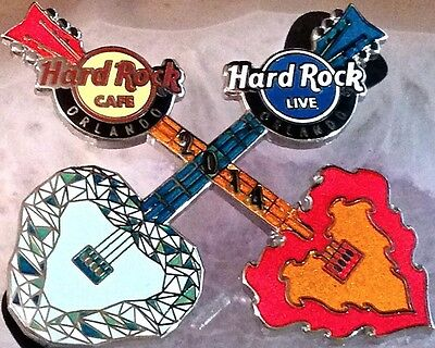 Hard Rock Cafe & Live ORLANDO 2014 Fire & Ice Guitar PIN LE 300! Roller Coaster