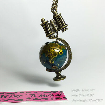 Betsey Johnson Vintage Telescope Earth Globe Pendant Sweater Chain Necklace 1