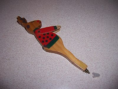 Vtg Wooden Reindeer Christmas Pen