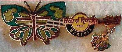 Hard Rock Cafe MEMPHIS 2007 BUTTERFLY GUITAR Series PIN with Dangle - HRC #39175