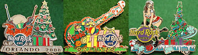Hard Rock Cafe Live & Hotel ORLANDO 2008 CHRISTMAS 3 PINS Holiday Parade SET!