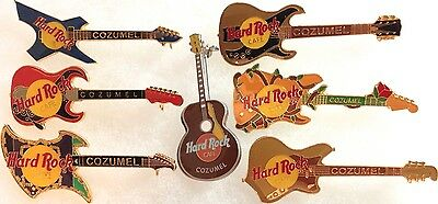 7 Hard Rock Cafe COZUMEL 1990s GUITAR Collection PIN LOT! - HRC MEXICO