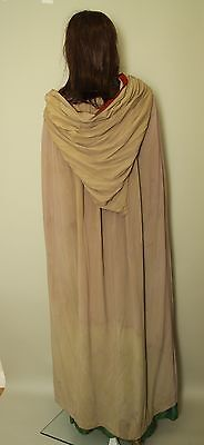 Antique 19th Century hand stitched Silk Crepe Hooded cloak Goth