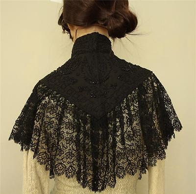 Antique Victorian Edwardian black lace and beaded Mourning cape capelet