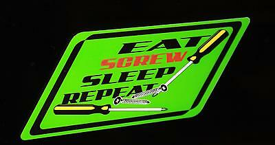 Blue Snap on tool box cart krl classic Eat Screw Sleep repeat decal
