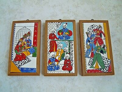 Set of (3) Three Vintage HAREM MOTIF Hand Painted SIGNED Dated TURKISH TILES NF