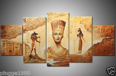 New Original Abstract Modern Wall Deco Oil Painting:Egyptian statuesNO frameP136