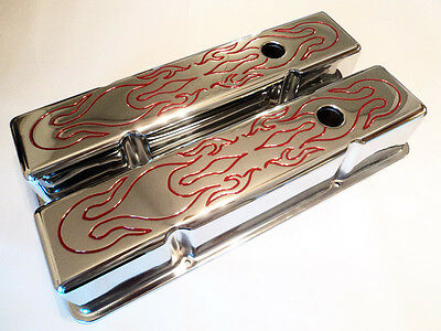 CHEVY 283 327 350 400 CHROME VALVE COVERS RED FLAME HOT ROD CAMARO CHEVELLE TALL