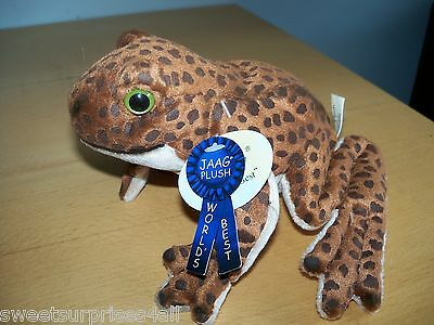 Plush Brown Frog Makes a Rattling Noise Jaag brand NEW With Tags