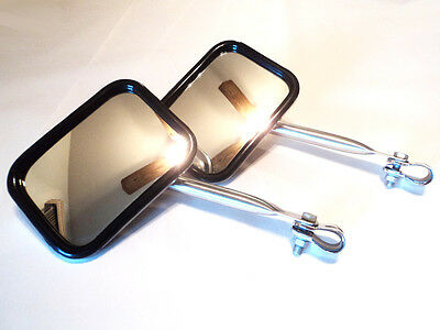 OFF ROAD 4X4 TOWING SUV CHROME SQUARE SIDE MIRRORS TRUCK VAN JEEP COMPLETE KIT