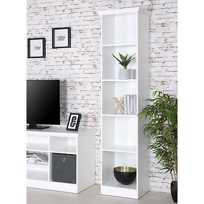 Regal Landwood Bücherregal Standregal in weiß mit 5 Fächern 50 cm Landhausstil
