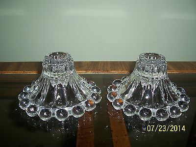 VINTAGE CLEAR GLASS ANCHOR HOCKING BOOPIE CANDLE STICK HOLDERS BUBBLE BERWICK