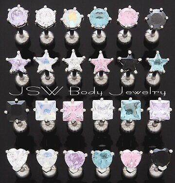 8pc Shaped Clear and Pink Prong Set Gem Tongue Rings Wholesale Tounge